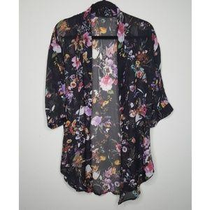 Tops - Floral Print Sheer Black Kimono Style Cover